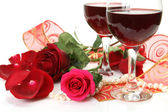 Wine and roses — Stock Photo