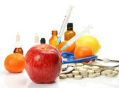 Subjects for treatment and fruit — Stock Photo
