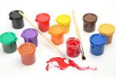 Peinture et un pinceau — Photo
