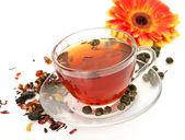 Tea and flower — Stock Photo