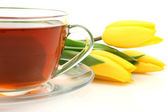 Tea and tulips — Stock Photo