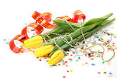 Bouquet of tulips and streamer — Stock Photo