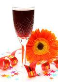 Orange flower and wine — Stock Photo