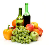 Fresh fruit and wine — Stock Photo