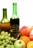 Fresh fruit and wine — Stock Photo