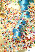Confetti and streamer — Stock Photo