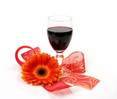 Wine and flower — Stock Photo