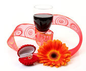 Wine and ring — Stock Photo