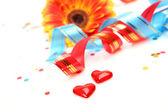 Chorągiew i konfetti — Zdjęcie stockowe