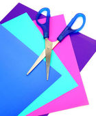 Color paper and scissors — Stock Photo