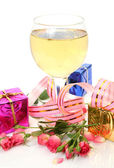 Wine and gifts — Stock Photo