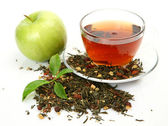 Tea and green apple — Stock Photo