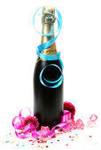 Champagne and streamer — Stock Photo