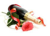Wein und rose — Stockfoto