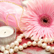 Pink flower and candles — Stock Photo #47237601