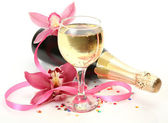 Champagne and orchids — Stock Photo