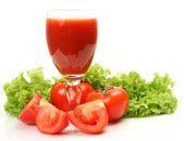 Fresh vegetables and juice — Stock Photo