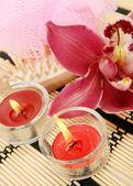 Цветы и свечи — Стоковое фото