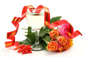 Glass and roses — Stock Photo