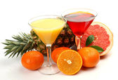 Juice and fruits — Stock Photo