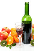 Fruits and wine — Stock Photo