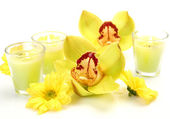 Yellow orchids and candles — Stock Photo