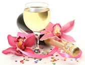 Orchids and wine — Stock Photo