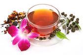 Te och blomma — Stockfoto