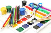 Brushes, paints and pencils — Stock Photo