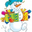 Snowman with Christmas Gifts — Stock Photo