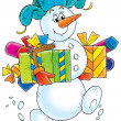 Snowman with Christmas Gifts — Stock Photo #13611731