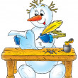 Snowman writes a letter — Stock Photo