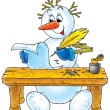 Royalty-Free Stock Photo: Snowman writes a letter