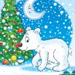 图库照片: Polar bear and Christmas tree