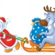 Santa Clause and Reindeer — Stock Photo