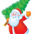 Santa Claus with Christmas tree — Stock Photo