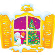 Window with Santa Claus and Christmas tree — Stock fotografie
