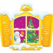 Window with Santa Claus and Christmas tree - Stock Photo