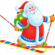 Santa Claus skier — Stock Photo