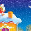SantClaus on house-top — Stock Photo #13615316