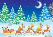 Der weihnachtsmann in seinem schlitten fahren — Stockfoto