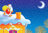 Santa Claus on a house-top — 图库照片
