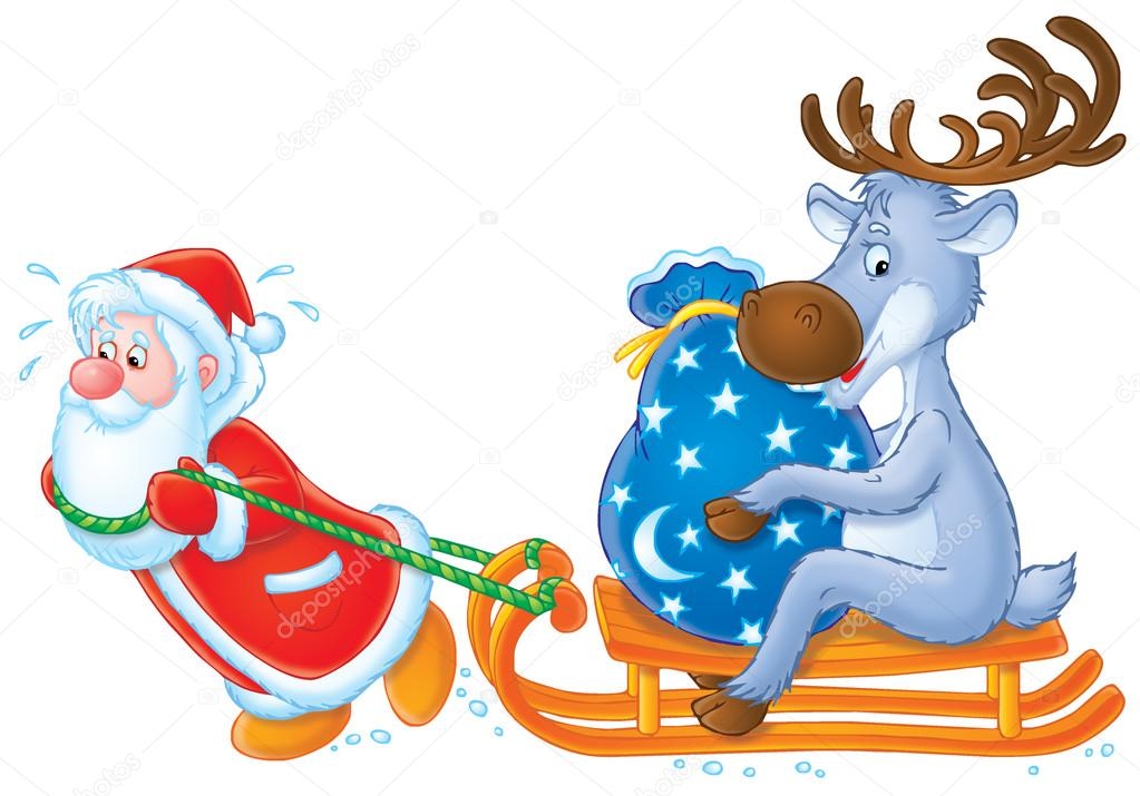 Santa Claus pulls his sledge with his reindeer and sackful of Christmas presents — Stock Photo #13613623