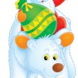 Santa Claus on a Polar Bear — Stock Photo