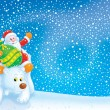 Stock Photo: Santa Claus travels on a Polar Bear