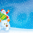 Santa Claus travels on a Polar Bear — Stock Photo