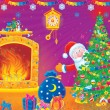 Santa Claus and Christmas tree — Stockfoto