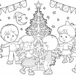 Children dancing around Christmas tree — ストック写真