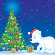 Polar Bear and Christmas tree — Stock fotografie