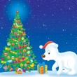 Polar Bear and Christmas tree - Stock Photo